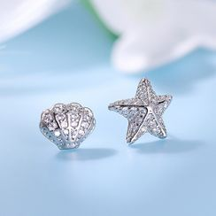 BURMASTIN - Non-matching 925 Sterling Silver Rhinestone Starfish & Shell Earring