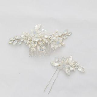 Vivian Design - Rhinestone Flower Hair Comb / Hair Stick