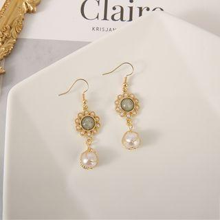 Scoria - Flower Faux Pearl Hook / Clip-On Earrings
