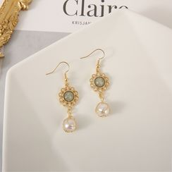 Scoria - Flower Faux Pearl Hook / Clip-On Earrings