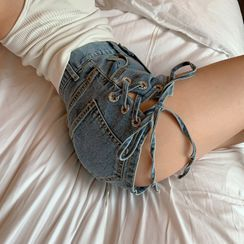Allizzwell - 系带修身牛仔热裤