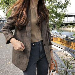 YUMU - Plaid Single Breasted Blazer