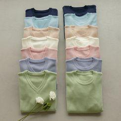 JUSTONE - Pastel-Color Dip-Back Knit Top in 2 Neck Designs