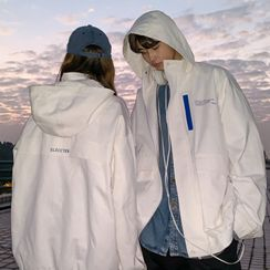 Real Boy - Couple Matching Lettering Hooded Zip Jacket