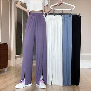 Shinsei - High-Waist Slit Wide-Leg Pants