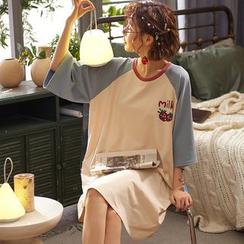 Jeony - Printed Short Sleeve Nightdress