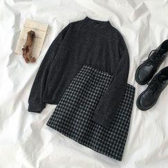 Miruku - 小高領套衫 / 迷你A字格子裙