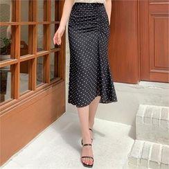 Styleberry - Drawstring-Front Polka-Dot Skirt
