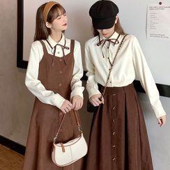 WIKPROM - Long-Sleeve Ribbon Button-Up Shirt / Sleeveless Button-Up A-Line Midi Dress / Button-Up A-Line Midi Skirt