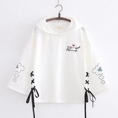 Cat Planet - Printed Lace Up Hooded Long-Sleeve T-Shirt