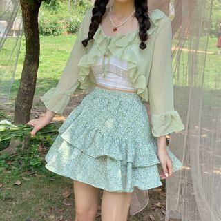 Dute - Ruffle Trim Light Jacket / Lace Camisole Top / Floral A-Line Skirt