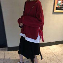 Ashlee - Mock Two-Piece Oversize Lace-Up Sweatshirt / High-Waist Asymmetric Plain Knit Skirt
