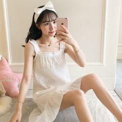 MORK - Sleeveless Ruffle Hem Mini Sleep Dress