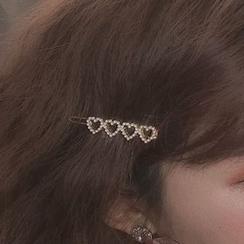 PO!NY STUDIO - Faux Pearl Heart Hair Clip