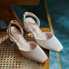 Megan(ミーガン) - Plain Ankle Strap Chunky Heel Sandals