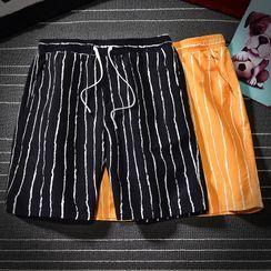Rampo - Drawstring-Waist Striped Straight-Cut Shorts