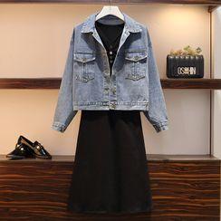 Sugar Town - Button Denim Jacket / Elbow-Sleeve Midi A-Line Dress / Set