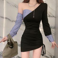 80PERCENT - 长袖不对称条纹拼接迷你塑身连衣裙