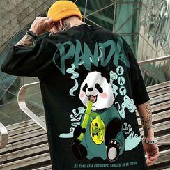 Cowpow - Elbow-Sleeve Panda Print T-Shirt