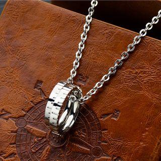 Tenri - Stainless Steel Dual Hoop Pendant Necklace
