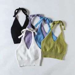 Hollahop - Halter-Neck Bow-Back Bra Top