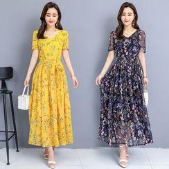 Sienne - Flower Print Short-Sleeve Maxi A-Line Dress