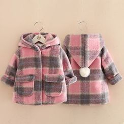 Seashells Kids - Kids Hooded Plaid Coat