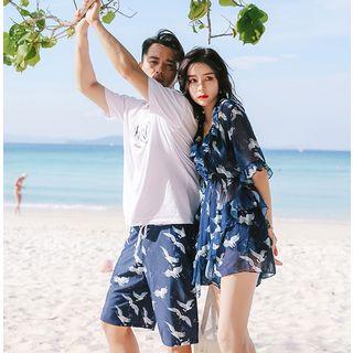 Higun - Couple Matching Pattern Bikini / Cover-Up Dress / Beach Shorts / Set