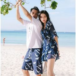 Higun - 情侶款圖案比基尼泳衣 / 罩衫連衣裙 / 沙灘短褲 / 套裝