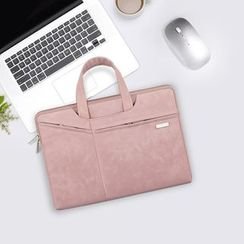 Simkim - Plain Faux Leather Laptop Briefcase