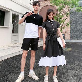 Azure - Couple Matching Short-Sleeve Color Block Polo Shirt / Shorts / A-Line Midi Shirtdress