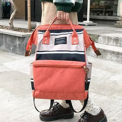 Beamie - Striped Panel Oxford Fabric Laptop Backpack