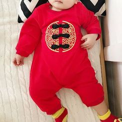 MOM Kiss - Kids Set: Chinese Traditional Brimless Hat + Long-Sleeve Bodysuit
