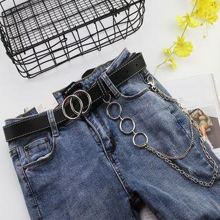 Rofuka - Hoop & Chain Faux Leather Belt