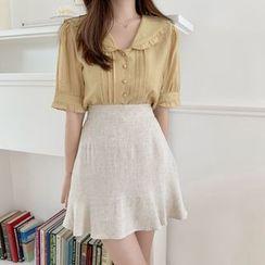 Leoom - 荷葉短袖襯衫