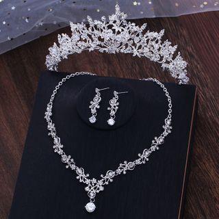 la Himi - 套装: 婚礼仿水晶皇冠 + 项链 + 耳坠