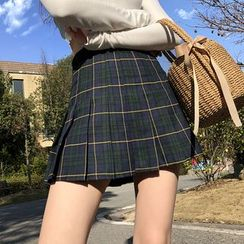 Shira - Pleated Plaid Mini Skirt