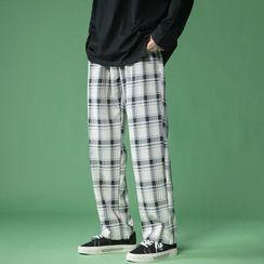 Groove Tower - 情侣格纹宽腿裤