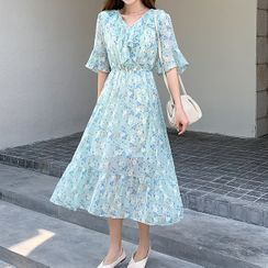 Cassidy - Floral Elbow-Sleeve Midi A-Line Dress