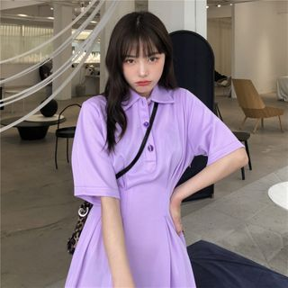 Miaow - Short-Sleeve Collared A-Line Dress