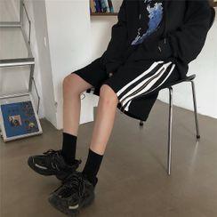 Koiyua - Striped Zip-Accent Wide Leg Shorts
