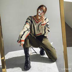 LIPHOP - V-Neck Contrast-Trim Distressed Sweater