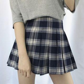 Dute - Pleated Plaid Mini Skirt