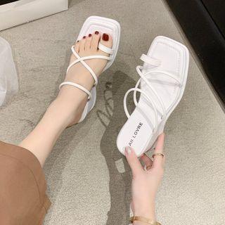 Pashel - Wedge Heel Toe-Loop Slide Sandals