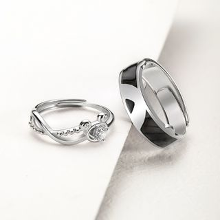 Gemma - Couple Matching 925 Sterling Silver Rhinestone Bear Ring
