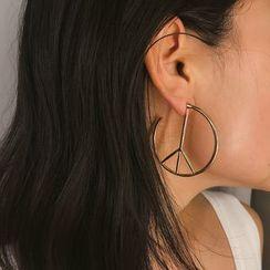 Seirios - Alloy Peace Sign Hoop Earring