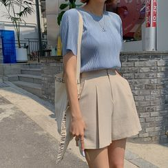 MERONGSHOP - Round-Neck Pleated Top