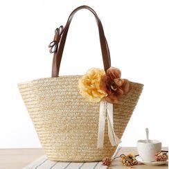 STYLE CICI - Flower Applique Woven Tote Bag