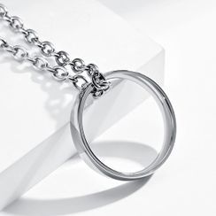 Andante - 光面戒指吊坠不銹钢项链