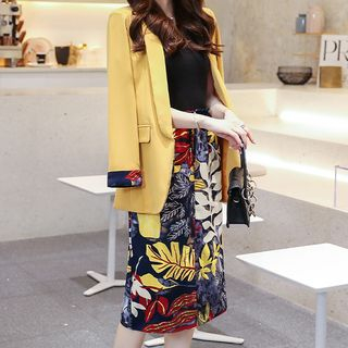 Romantica - 套装: 纯色西装外套 + 碎花中长裙